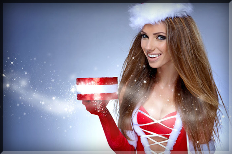 present girl buy gift wife girlfriend hot babe cleavage santa hat costume dressed up christmas naughty elf snow hot chick holiday season box new years eve